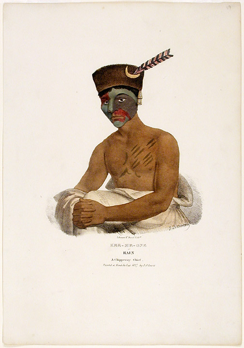 Kee-Me-One or Rain A Chippeway Chief. Painted at Fond du Lac 1827 by J. O. Lewis. After James Otto LEWIS.