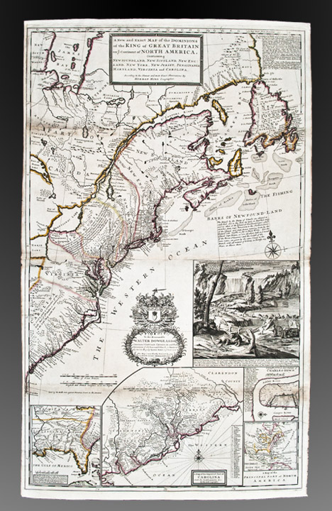 A New and Exact Map of the Dominions of the King of Great Britain on ye continent of North America containing Newfoundland, New Scotland, New England, New York, New Jersey, Pensilvania, Maryland, Virginia and Carolina. According to the newest and most exact observations. Herman MOLL, fl.