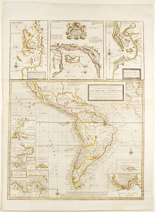 A New & Exact Map of the Coast, Countries and Islands within ye Limits of ye South Sea Company. Herman MOLL.