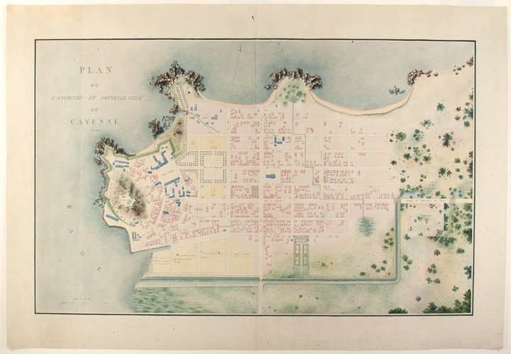 [Extraordinary archive of large-scale manuscript maps and topographic views of French Guiana, accomplished by important French artists accompanying Baron Pierre-Bernard Milius to the remote region]. FRENCH GUIANA, Baron MILIUS - Pierre-Bernard, Auguste Nicolas VAILLANT, E. BODIN.