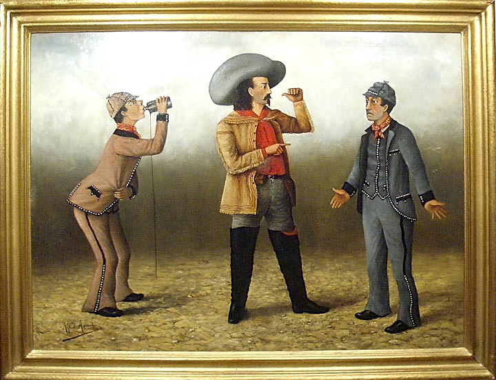 "Buffalo Bill [and the ""Frenchman's Bottle Gag,"" a comic tableau from the wild west show]. Alfred AGOUST, French. b."