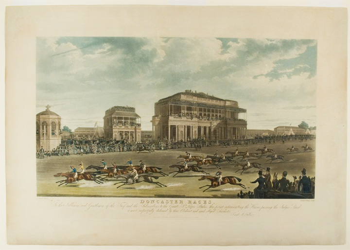 [St. Leger. Passing the Judges' Stand] Doncaster Races. To the Noblemen and Gentlemen of the Turf and the Subscribers to the Great St. Leger Stakes, this print representing the Horses passing the Judges Stand, is most respectfully dedicated by their Obedient and most obliged Servants, S. and J. Fuller. After James POLLARD.