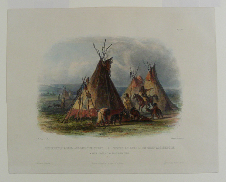 A skin lodge of an Assiniboin chief. Karl BODMER.