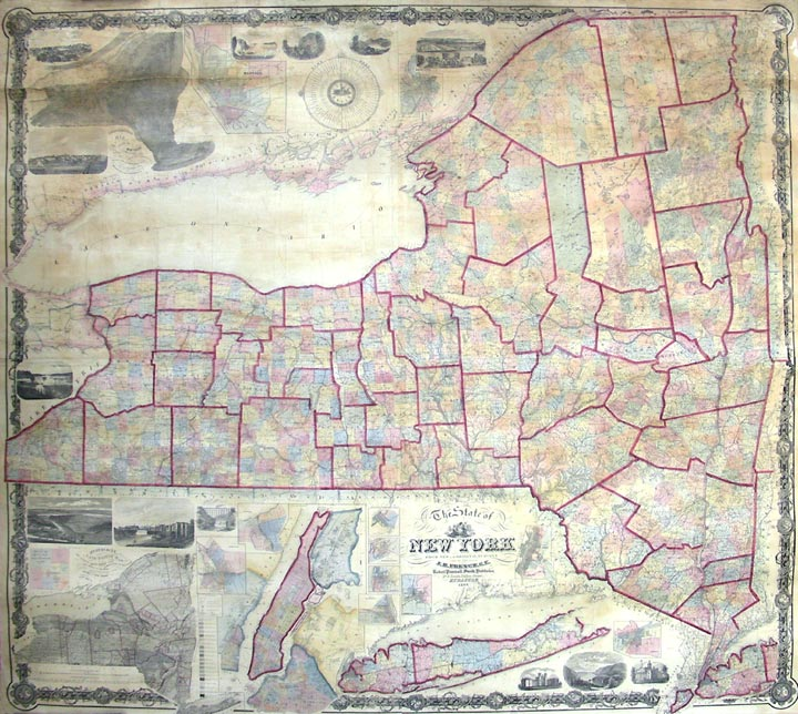 New York Map 1800.The State Of New York From New And Original Surveys Under The