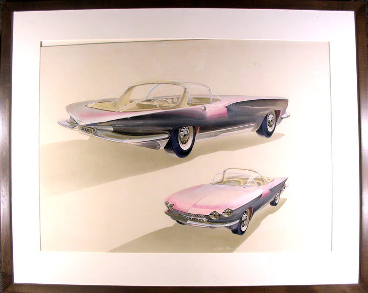 1959 Conceptual Drawing of a Sports Car. George LAWSON.