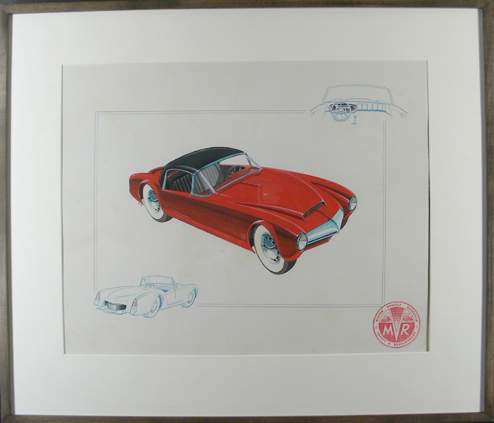 Prototype Sports Car Concept Art. R S. W., fl. Mid-20th century.