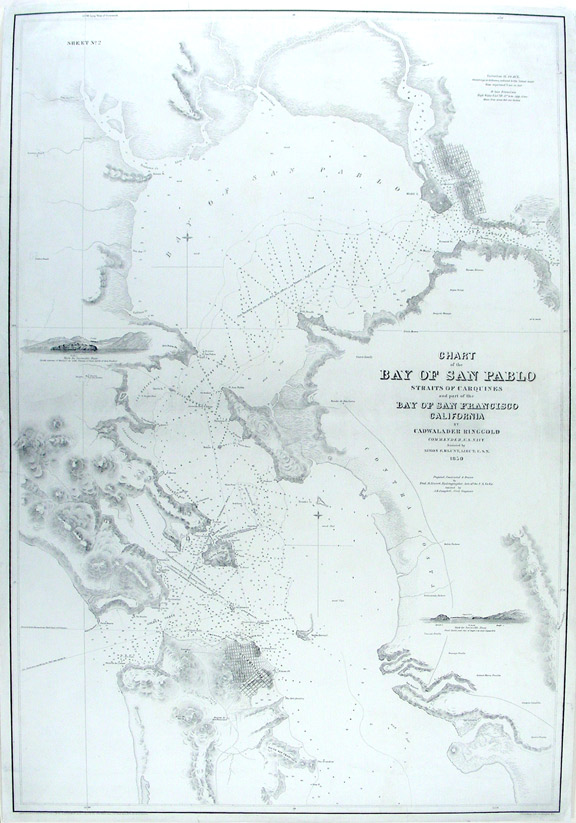 Chart of the Bay of San Pablo Straits of Carquines and part of the Bay of San Francisco California by ... Ringgold assisited by Simon F. Blunt ... Projected, constructed & drawn by Fred. D. Stuart ... assisted by A.H. Campbell. Cadwalader RINGGOLD, surveyor.