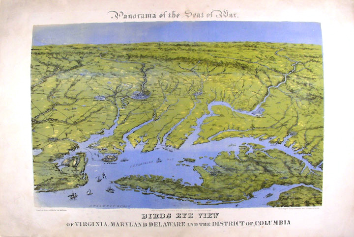 Panorama of the Seat of War. Birds Eye View of Virginia, Maryland, Delaware and the District of Columbia. John BACHMANN.