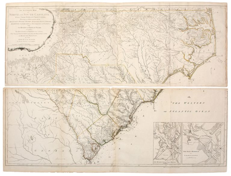 An Accurate Map of North and South Carolina, with their Indian Frontiers, Shewing in a distinct manner all the Mountains, Rivers, Swamps, Marshes, Bays, Creeks, Harbours, Sandbanks and Soundings on the Coasts, with the Roads and Indian Paths as well as the Boundary or Provincial Lines, the Several Townships and other divisions of the land in both the Provinces; the whole from Actual Surveys by Henry Mouzon and others. Henry MOUZON, d.1777.