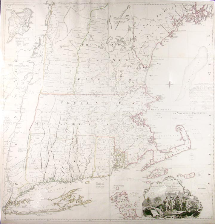A Map of the most Inhabited part of New England containing the Provinces of Massachusets Bay and New Hampshire, with the Colonies of Conecticut and Rhode Island, Divided into Counties and Townships: The whole composed from Actual Surveys and its Situation adjusted by Astronomical Observations. Braddock MEAD, alias John GREEN, and Georges Louis LE ROUGE, c.