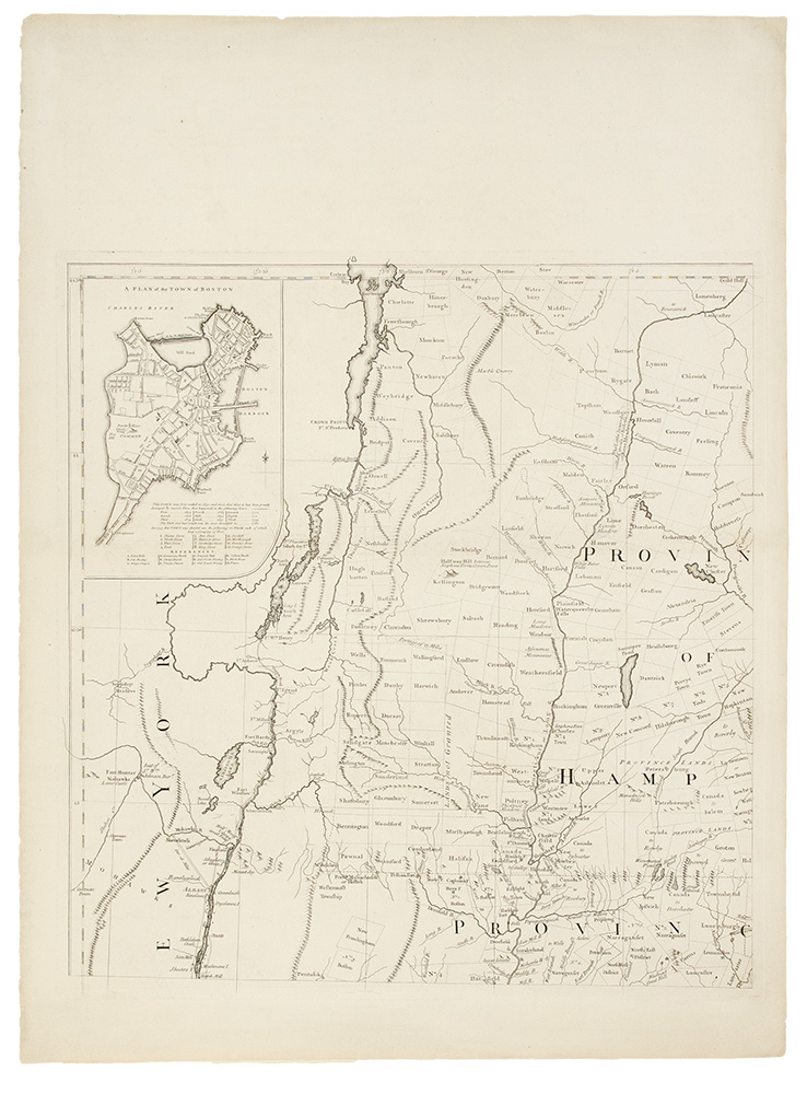 A Map of the most Inhabited part of New England containing the Provinces of Massachusets Bay and New Hampshire, with the Colonies of Conecticut and Rhode Island, Divided into Counties and Townships: The whole composed from Actual Surveys and its Situation adjusted by Astronomical Observations. Braddock MEAD, alias John GREEN, c.