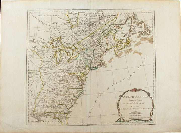 North America from the French of Mr. d'Anville improved with the British Surveys made Since the Peace. Jean Baptiste Bourguignon D'ANVILLE.