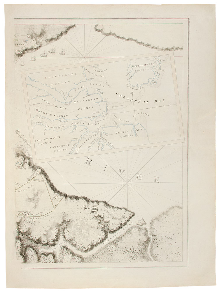 [YORKTOWN] [A Plan of the Post of York and Gloucester in the Province of Virginia. Established by his Majesty's Army under the Command of Lieut. General Earl Cornwallis, together with the Attacks under Operations of the American & French Forces Commanded by General Washington and the Count of Rochambeau, which Terminated in the Surrender of the said Posts and Army on the 18th of October 1781. Surveyed by Captn. Fage of the Royal Artillery]. J. F. W. DES BARRES.