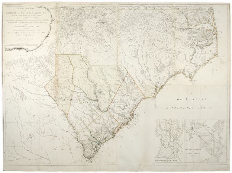 An Accurate Map of North and South Carolina, with their Indian Frontiers, Mountains, Rivers, Swamps, Marshes, Bays, Creeks, Harbours & c., with the Roads and Indian Paths as well as the Boundary or Provincial Lines, the Several Townships and other divisions of the land in both the Provinces; the whole from Actual Surveys by Henry Mouzon and others. Henry MOUZON, d.1777.