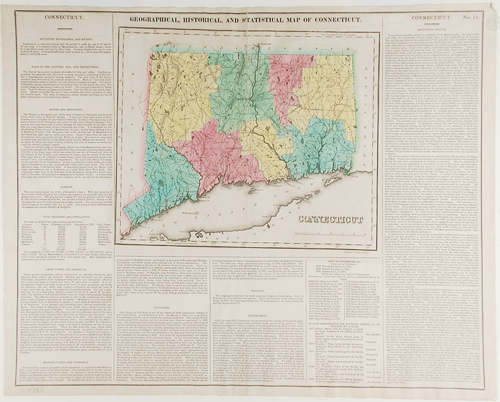 Connecticut. Geographical, Historic and Statistical Map of Connecticut. Henry Charles CAREY, Isaac LEA, publishers.
