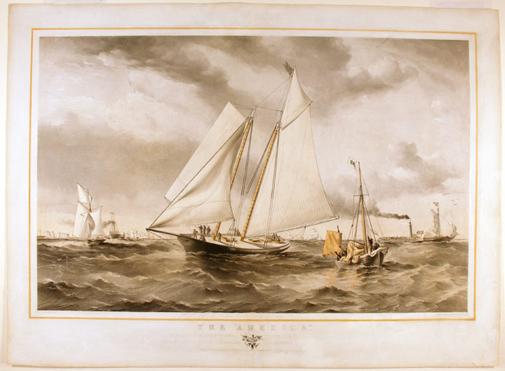 "The ""America"" Winning the Match at Cowes for the [Club Cup] ... open to Yachts of all Classes, and Nations from the original sketch taken [on] the spo[t b]y Oswald W. Brierj[ey]. Thomas Goldsworth after Sir Oswald W. BRIERLEY DUTTON, - 1891."