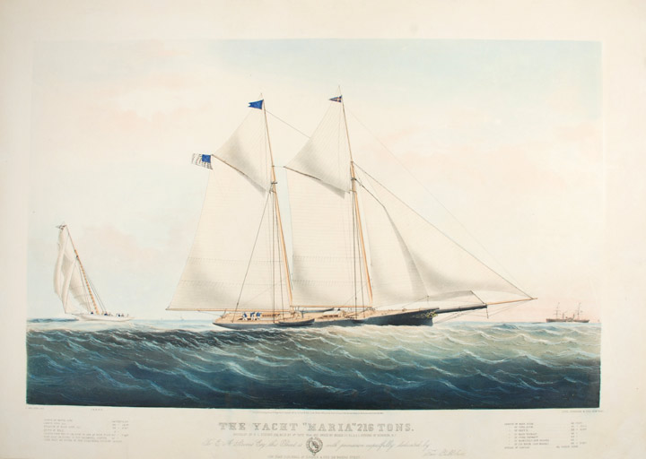 """The Yacht """"Maria"""" 216 Tons: Modelled by R. L. Stevens Esq. Built by Mr. Capes 1844 and Owned by Messes JC. RL. & E.A.Stevens of Hoboken, N.J. To E.A. Stevens ... this Print is with permission respectfully dedicated. CURRIER, publishers. - Charles PARSONS IVES."""