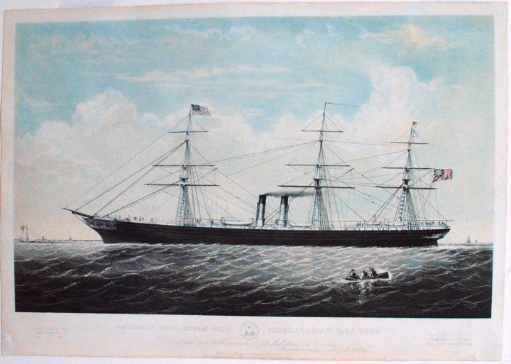 "The Royal Mail Steam Ship ""Australasian"" 3100 Tons, To the British and North American Royal Mail Steam Sip Company this print is ... dedicated. CURRIER, publishers. - Charles PARSONS IVES."