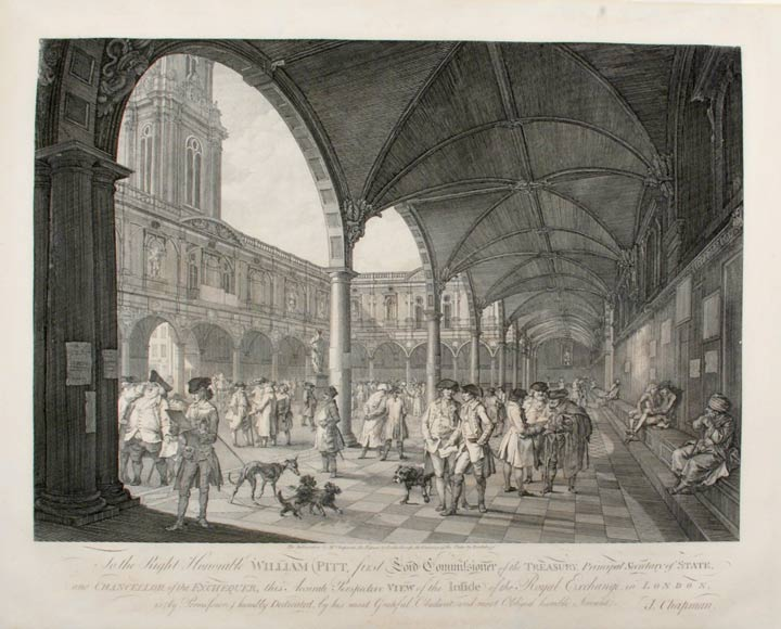 [Pair of Prints] To the Right honorable William Pitt ... this Accurate Perspective View of the Outside [.... this Accurate Perspective View of Inside] of the Royal Exchange, in London, is ... Dedicated, by ... J. Chapman. Francesco - after J. CHAPMAN and LUTHERBURGH BARTOLOZZI, engraver.