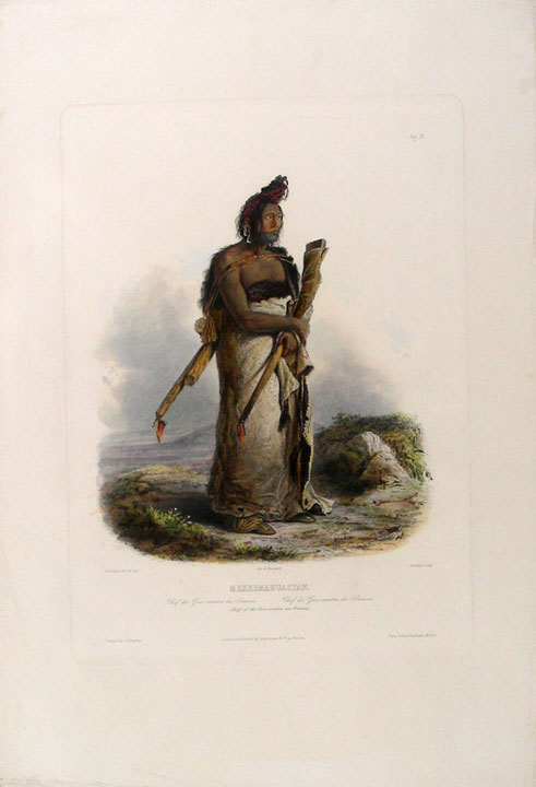 Mexkemahuastan. Chief of the Gros-ventres des Prairies. Karl BODMER.