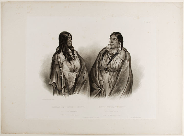 Woman of the Snake-Tribe. Woman of the Cree- Tribe. Karl BODMER.