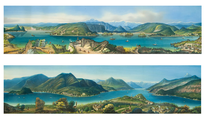 Lake Como [and:] Lake Maggiore. 19th century ITALIAN SCHOOL.