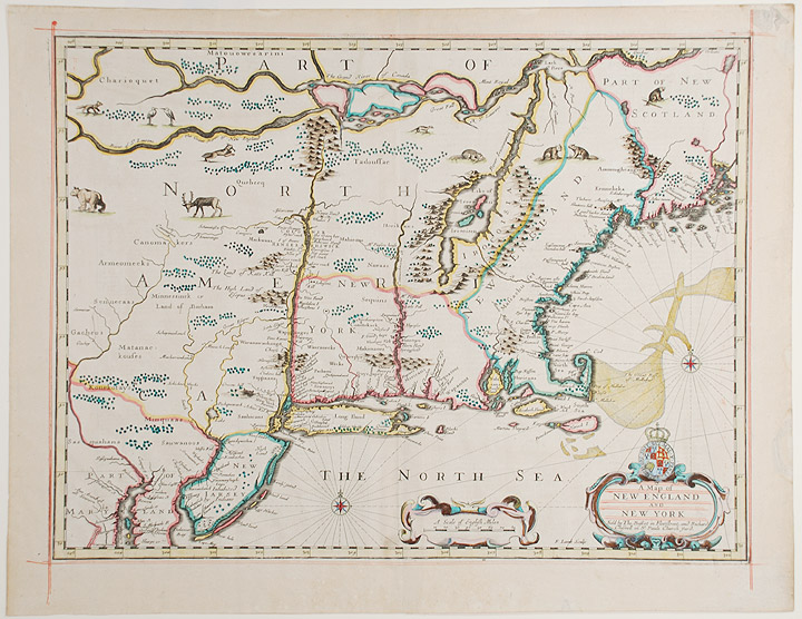 A Map of New England and New York by John SPEED, c. on Donald A. Heald Rare  Books