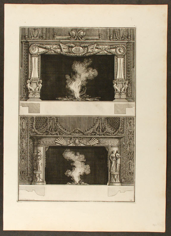 "[Plate of two neo-Classical fireplaces, from ""Diverse maniere d'adornare i cammini ed ogni altra parte degli edifizi"" Giovanni Battista PIRANESI."