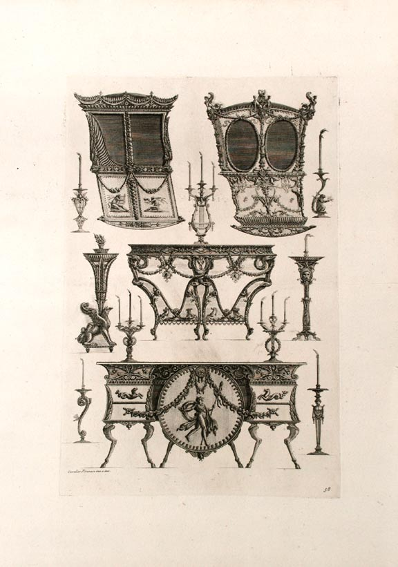 "[Plate of neo-Classical designs for one furniture and candlestick, and a sedan chair, from ""Diverse maniere d'adornare i cammini ed ogni altra parte degli edifizi"" Giovanni Battista PIRANESI."