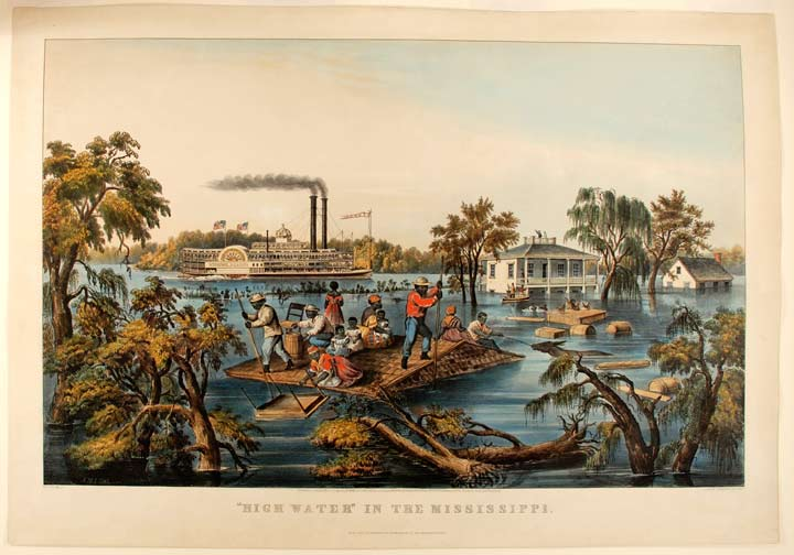 High Water in the Mississippi. CURRIER, IVES - After Francis F. PALMER, publishers.