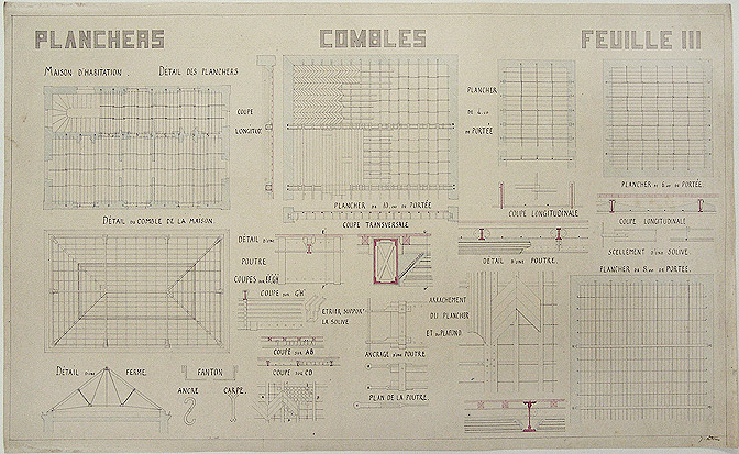 Original detailed architectural technical-drawing of the construction of archways, titled 'Planchers Combles Feuille III'. ECOLE DES BEAUX-ARTS -, architect, J. LITOUX.