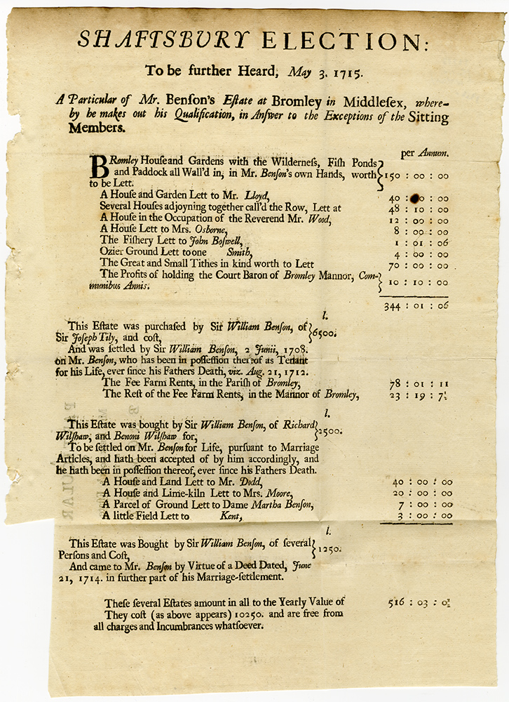 Shaftsbury Election: to be further Heard, May 3. 1715. A Particular of Mr. Benson's Estate at Bromley in Middlesex, whereby he makes out his Qualification, in answer to the Exceptions of the Sitting Members. Willliam BENSON.
