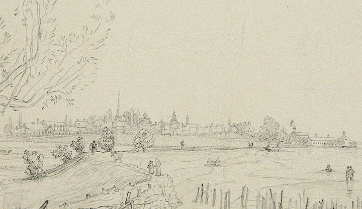 Original Ink Drawing of New Castle, Delaware. John B. DALE.