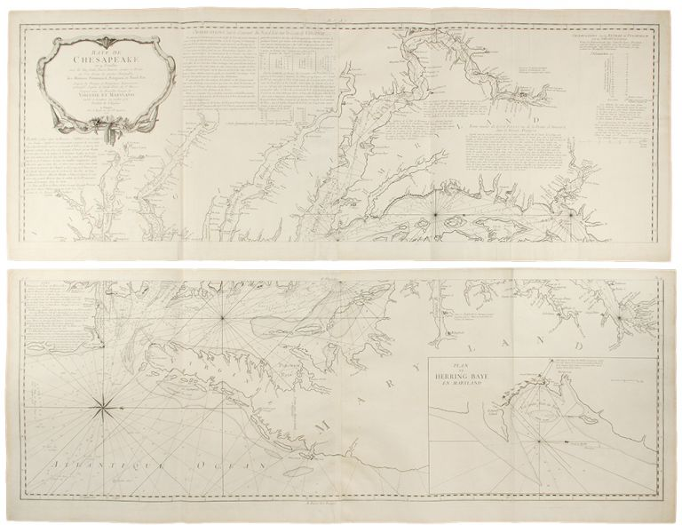 Baye de Chesapeake en 4 feuilles avec les Bas fonds, Passes, Entrees, Sondes et Routes... Patowmack, Patapsco, et Nord-Est d'apres les Dessins de Navigateurs Experimentes, principal d'apres A. Smith Pilote de St. Marys; Comparees avec les Nouvelles Levees de Virginie et Maryland. After Anthony SMITH.