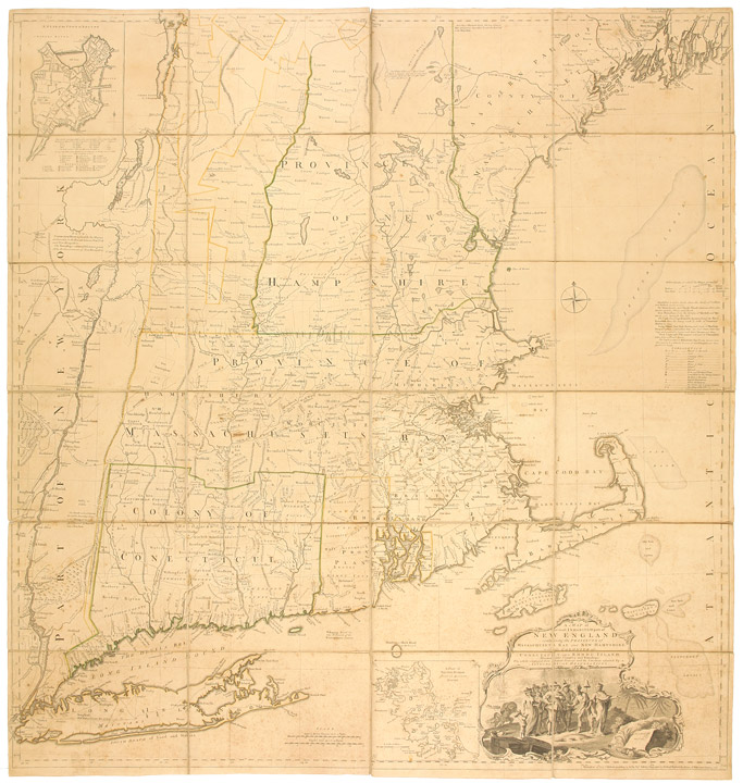 A Map of the most Inhabited part of New England containing the Provinces of Massachusets [sic.] Bay and New Hampshire, with the Colonies of Conecticut and Rhode Island, Divided into Counties and Townships: The whole composed from Actual Surveys and its Situation adjusted by Astronomical Observations. Braddock MEAD, alias John GREEN, c.