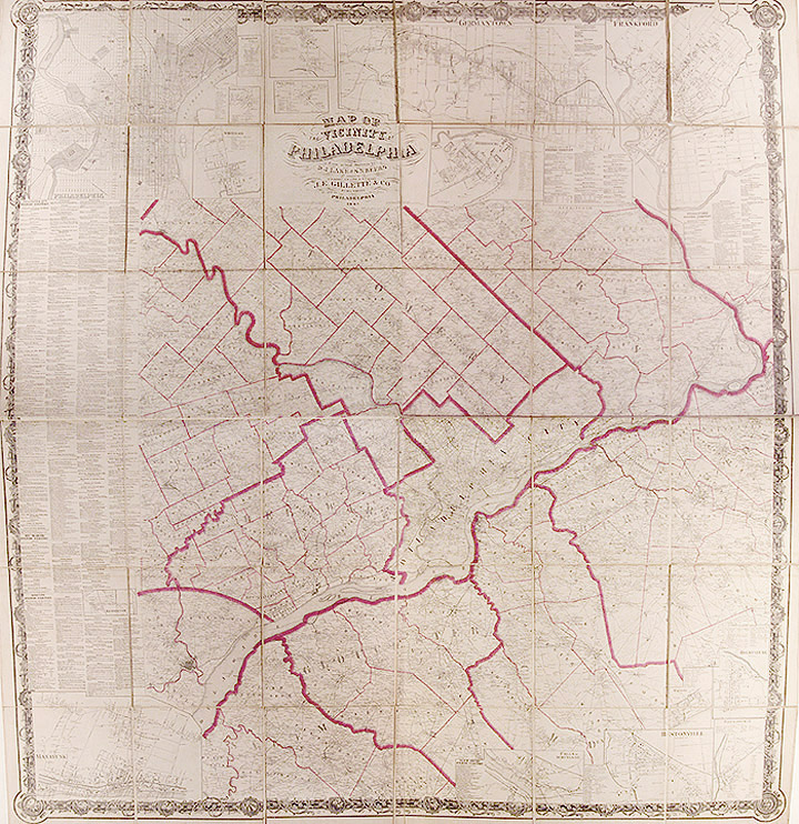 Map of the Vicinity of Philadelphia From actual surveys by D.J. Lake and S.N. Beers Assisted by F.W. Beers, L.B. Lake and D.G. Beers. D. J. LAKE, S. N. BEERS.