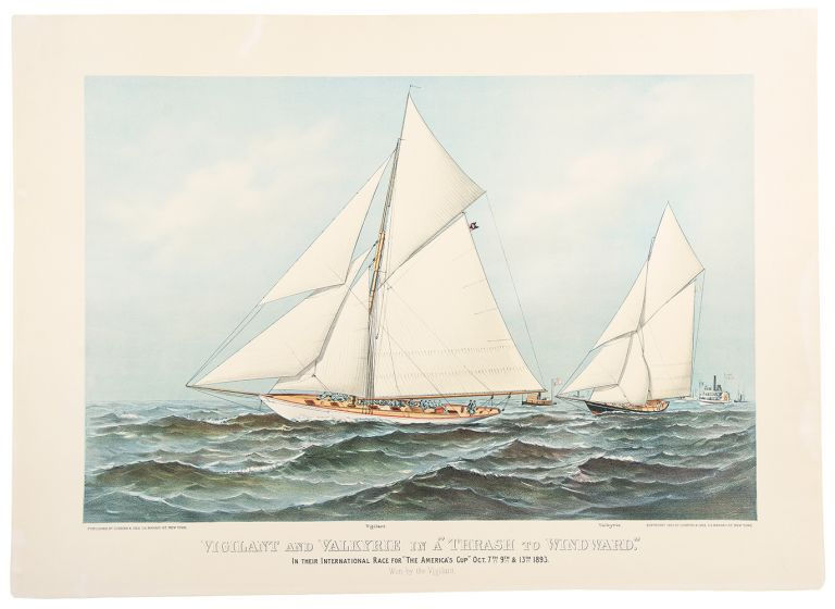 """Vigilant & Valkyrie in a 'Thrash to Windward'"" CURRIER, IVES."