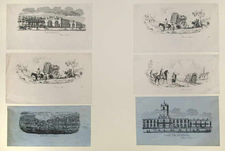 [Group of six lithographic vignettes of scenes in and around Buenos Aires]. ARGENTINA. - Rodolfo KRATZENSTEIN, publisher.