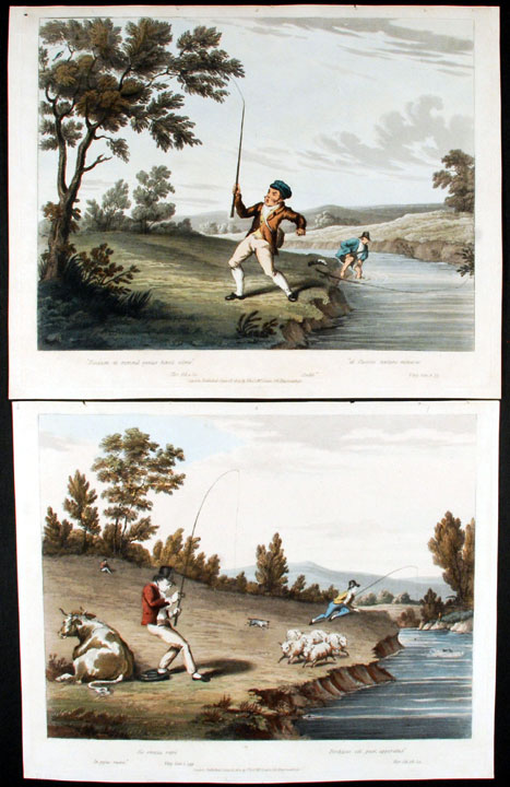 [A pair of angling prints each captioned with quotes from Horace and Virgil:] Sic omnia retro ... [and:] Piscium et summa genus hoesit ulmo. Thomas McLEAN, publisher.