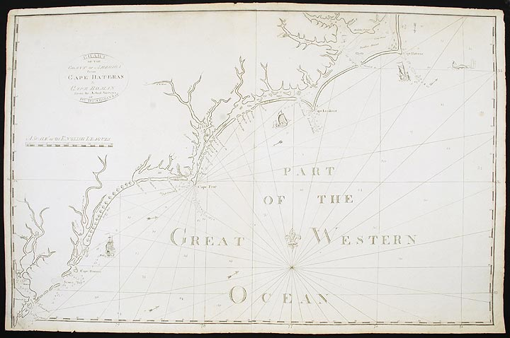Chart of the Coast of America from Cape Hateras [sic] to Cape Roman from the actual surveys of Dl. Dunbibin Esq. John NORMAN.