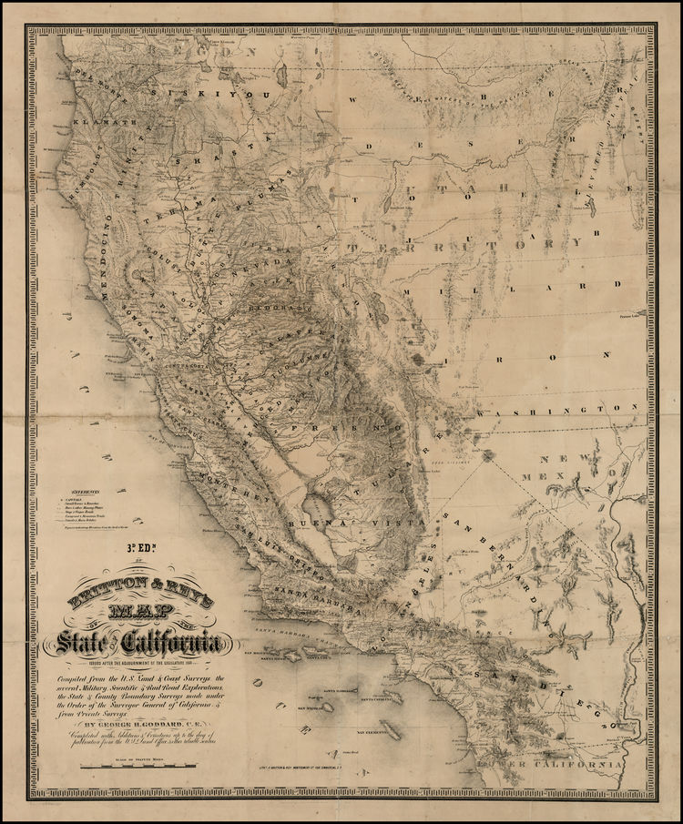 Britton & Rey's Map of the State of California. George GODDARD.