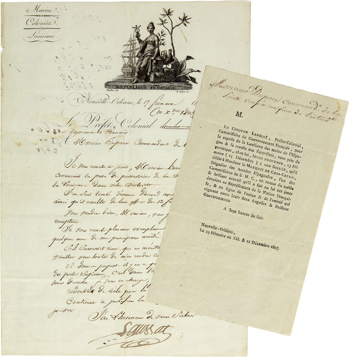 [Manuscript letter signed, from Laussat, the French Colonial Prefect of Louisiana, to Captain Guillermo Duparc, Commandant of the Point Coupee Post, informing him of the Spanish retrocession of Louisiana to the French, and instructing him to take the necessary measures to exert control over his parish]. LOUISIANA PURCHASE - Pierre Clément de LAUSSAT.