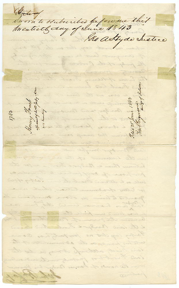 [Manuscript Document Signed by John P. Sarpy Testifying to the Dispersal of the Estate of Henry Fraeb and the Difficulty of Collecting Money from Famed Mountain Man Jim Bridger]. JIM BRIDGER, JOHN SARPY, FUR TRADE.