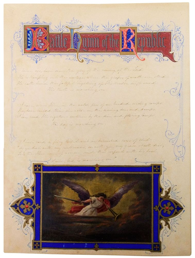 Autograph manuscript signed, the complete five stanzas of the Battle Hymn of the Republic, illuminated by Charles M. Jenckes in watercolour and gouache. Julia Ward HOWE, - Charles M. JENCKES, artist.