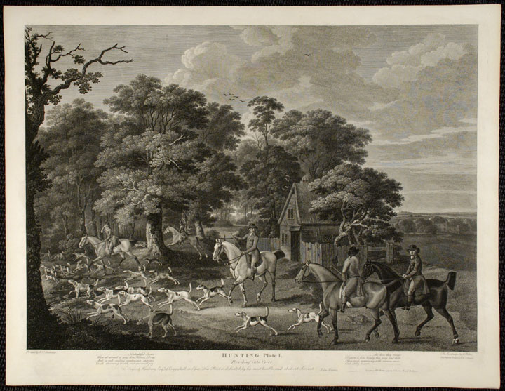 Hunting. [Four plates] Plate I. Brushing into Cover. Plate II. The Chase. Plate III. At Fault. Plate IV. The Death. J. N. SARTORIUS.