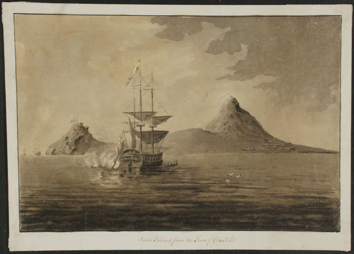 An original drawing with a Royal Navy warship firing her cannon out to sea, titled 'Pigeon Island from the Town of Gros Islet,' St. Lucia. West Indies ST. LUCIA.