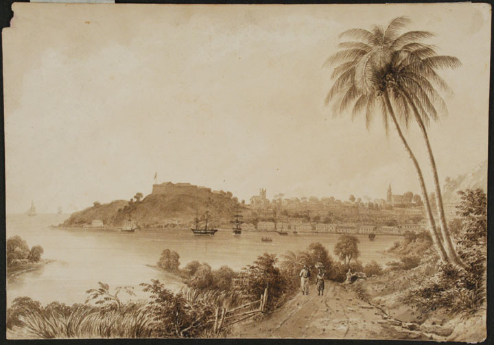[Grenada] Original signed pencil and wash drawing of the capital of Grenada, St. Georges (Fort George on the promontory, the deep water harbour and the town to the right). Attributed to Walford Thomas BELLAIRS.
