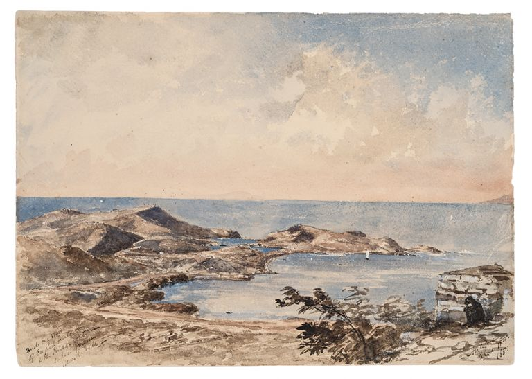 "[Antigua] Original watercolour drawing, inscribed 'Birds eye view / of the English Harbour / & the Ridge Antigua / taken from /[Great Fort George] Monks Hill / Antigua / April 11th / 1850"" Attributed to Walford Thomas BELLAIRS."
