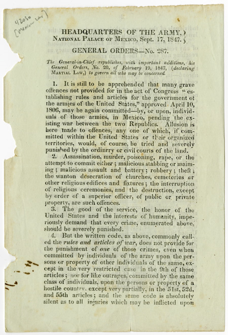 Headquarters of the Army, National Palace of Mexico, Sept. 17, 1847. General Orders - No. 287. MEXICAN WAR, Winfield SCOTT.
