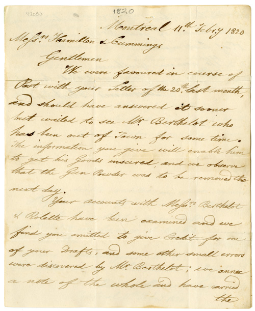 [Autograph Letter from the Montreal Firm of Desrivieres, Blackwood & Co. to the Queenstown Firm of Hamilton & Cummings Concerning an Account]. CANADIAN COMMERCE.